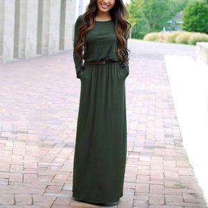5b630d16687100 Dresses   Skirts - green belted maxi DRC170